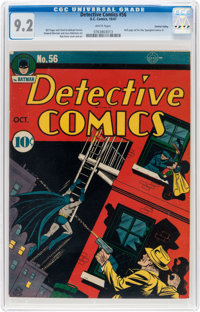 Detective Comics #56 Central Valley Pedigree (DC, 1941) CGC NM- 9.2 White pages