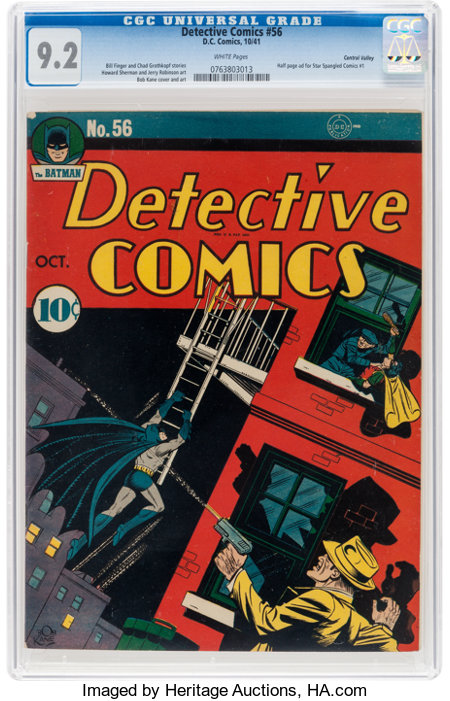 Detective Comics #56 Central Valley Pedigree (DC, 1941) CGC NM- 9.2 White pages....