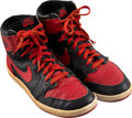 Basketball Collectibles:Others, 1985 Original Air Jordan I Nike Black and Red Sneakers.