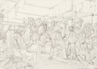 Morton Künstler (American, b. 1931) Midewiwin Ceremony of the Ojibway Chippewa study, 1977 Pencil on paper 19 x 27...