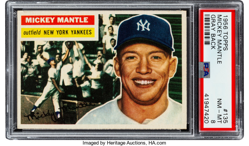 1956 Topps Mickey Mantle Gray Back 135 Psa Nm Mt 8