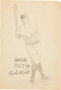 Baseball Collectibles:Others, 1932 Babe Ruth Signed Original Drawing, PSA/DNA Mint 9....