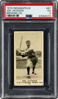 1916 Indianapolis Brewing Co. Joe Jackson #87 PSA VG 3 - Only Two PSA Graded Examples!