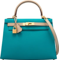 Hermès Special Order Horseshoe 28cm Blue Paon & Trench Epsom Leather Sellier Kelly Bag with Brushed Gold...