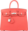 "Luxury Accessories:Bags, Hermès 25cm Rouge Pivoine Togo Leather Birkin Bag with Palladium Hardware. T, 2015. Condition: 1. 10"" Width x 7"" H..."