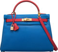 Luxury Accessories:Bags, Hermès 32cm Blue France & Rouge Vif Epsom Leather Sellier Kelly Bag with Gold Hardware. A Square, 1997. Condition: 2...