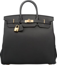 Hermes 40cm Black Togo Leather HAC Birkin Bag with Gold Hardware T, 2015 Pristine Condition</