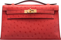 Hermès Rouge Tomate Ostrich Kelly Pochette with Gold Hardware A, 2017 Condition: 1