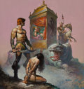 Fine Art - Painting, American, Boris Vallejo (American, b. 1941). Tarnsman of Gor book cover, 1977. Oil on board. 17 x 18 inches (43.2 x 45.7 cm). Sign...