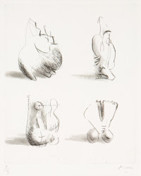 Henry Spencer Moore (1898-1986) Four Sculpture Motives, 1971 Etching on wove paper 8 x 6-1/2 inch
