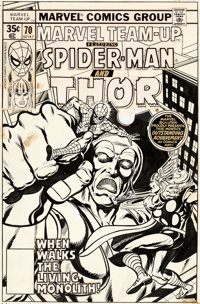 John Byrne and Tom Palmer Marvel Team-Up #70 Cover Spider-Man and Thor Original Art (Marvel, 1978)