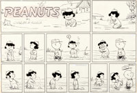 Charles Schulz Peanuts Sunday Comic Strip Charlie Brown and Lucy Original Art dated 1-18-59 (United Feature Syndic