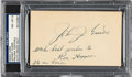 Autographs:Index Cards, 1930's Johnny Evers Signed Index Card, PSA/DNA NM-MT 8....