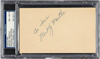 "1951 Mickey Mantle Signed Government Postcard with ""Commerce, OK"" Postmark, PSA/DNA NM-MT 8"