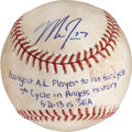 Autographs:Baseballs, 2013 Mike Trout Youngest American Leaguer to Hit for Cycle...