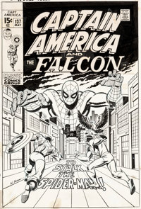 Sal Buscema Captain America #137 Cover Spider-Man and Falcon Original Art (Marvel, 1971)