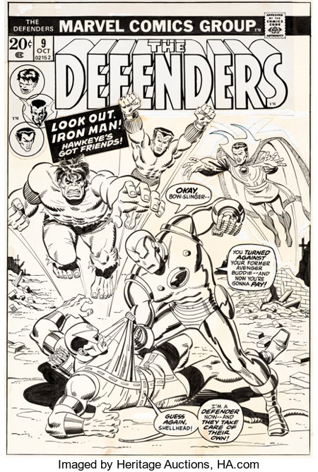 Sal Buscema The Defenders #9 Cover Original Art (Marvel, 1973)....