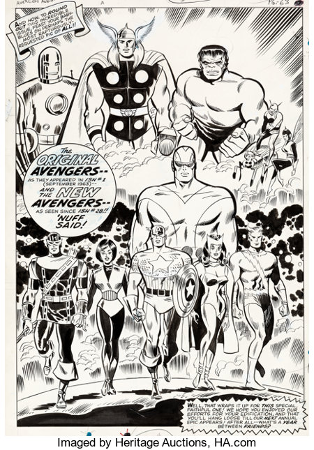Don Heck and George Roussos The Avengers Annual #1 Internal Splash Page Original Art (Marvel, 1967)....