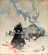 Frank Frazetta Death Dealer IV Study Painting Original Art (1987)