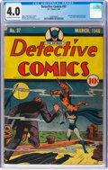 Golden Age (1938-1955):Superhero, Detective Comics #37 (DC, 1940) CGC VG 4.0 Cream to off-white pages....