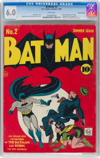 Batman #2 Central Valley Pedigree (DC, 1940) CGC FN 6.0 White pages