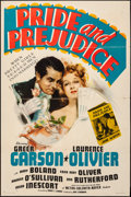 "Movie Posters:Drama, Pride and Prejudice (MGM, 1939). Folded, Fine/Very Fine. One Sheet (27"" X 41"") Style C. Drama.. ..."