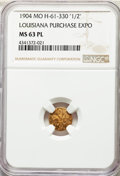 Expositions and Fairs, 1904 Louisiana Purchase Exposition, Gold 1/2, X-Tn1, H-61-330, MS63Prooflike NGC. LFRH-3, Die State 1.0, R.6. Variet...