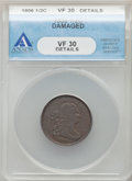 Half Cents, 1806 1/2 C Small 6, No Stems -- Damaged -- ANACS. VF30 Details. Mintage 356,000....