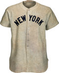 Baseball Collectibles:Uniforms, 1937 Lou Gehrig Game Worn New York Yankees Jersey with Photo Matches to Two Different Home Run Games, MEARS A9 & SGC Excellent...