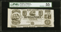 Singapore, MI- Bank of Singapore $3 18__ G6 Remainder PMG About Uncirculated 55