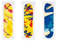 MHI Mhi X The Andy Warhol Foundation Pop Bonsai DPM-Series 2 (three works) Screenprints in colors on skate decks 32 x...