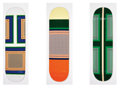 Collectible:Contemporary, Jayne Min (American, b. 1979). Celine, set of three, 2011. Screenprints in colors on skate decks. 32 x 8 inches (81.3 x ... (Total: 3 Items)