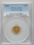 Gold Dollars, 1849 G$1 Closed Wreath AU53 PCGS. PCGS Population: (10/297). NGC Census: (3/479). CDN: $300 Whsle. Bid for problem-free NGC...