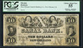 Obsoletes By State:Louisiana, New Orleans, LA- New Orleans Canal & Banking Company $10 18__ Remainder PCGS Choice About New 55.. ...
