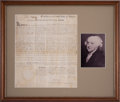 Miscellaneous Collectibles:General, 1799 John Adams Signed Land Grant....