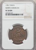 1781 TOKEN North American Token VF20 NGC. NGC Census: (17/44). PCGS Population: (28/159)