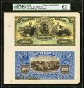 World Currency, Brazil Thesouro Nacional 200 Mil Reis 1891 Pick 72p Front and Back Proofs PMG Uncirculated 62.. ...