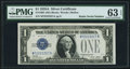 "Fr. 1601 $1 1928A Silver Certificate with ""Radar"" Serial Number 72222227. PMG Choice Uncirculated 63 EPQ"