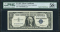 Gutter Fold Fr. 1619 $1 1957 Silver Certificate. PMG Choice About Unc 58 EPQ
