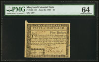 Maryland June 28, 1780 $5 PMG Choice Uncirculated 64