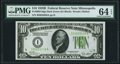 Fr. 2002-I $10 1928B Dark Green Seal Federal Reserve Note. PMG Choice Uncirculated 64 EPQ