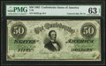 Confederate Notes:1862 Issues, T50 $50 1862 PF-19 Cr. 362 PMG Choice Uncirculated 63 EPQ.. ...