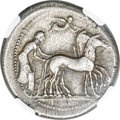 Ancients: SICILY. Gela. Ca. 480-470 BC. AR tetradrachm (27mm, 17.28 gm, 12h). NGC XF★ 5/5 - 5/5