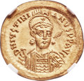 Ancients:Byzantine, Ancients: Justinian I the Great (AD 527-565). AV solidus (21mm,4.47 gm, 6h). NGC MS 5/5 - 3/5, brushed, wavy flan.