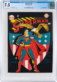 Superman #14 (DC, 1942) CGC VF- 7.5 Off-white to white pages
