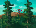 Animation Art:Production Cel, Super Friends Superman Production Cel with Master PaintedBackground (Hanna-Barbera, c. 1984)....
