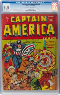 Captain America Comics #5 (Timely, 1941) CGC FN- 5.5 Cream to off-white pages
