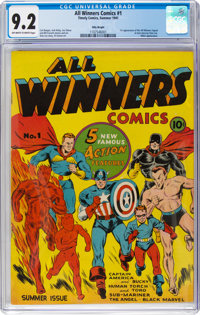 All Winners Comics #1 Billy Wright Pedigree (Timely, 1941) CGC NM- 9.2 Off-white to white pages