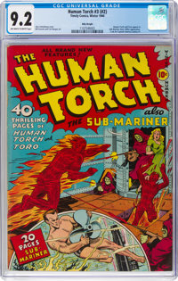 The Human Torch #3 (#2) Billy Wright Pedigree (Timely, 1940) CGC NM- 9.2 Off-white to white pages