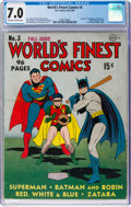 Golden Age (1938-1955):Superhero, World's Finest Comics #3 (DC, 1941) CGC FN/VF 7.0 Off-white to white pages....